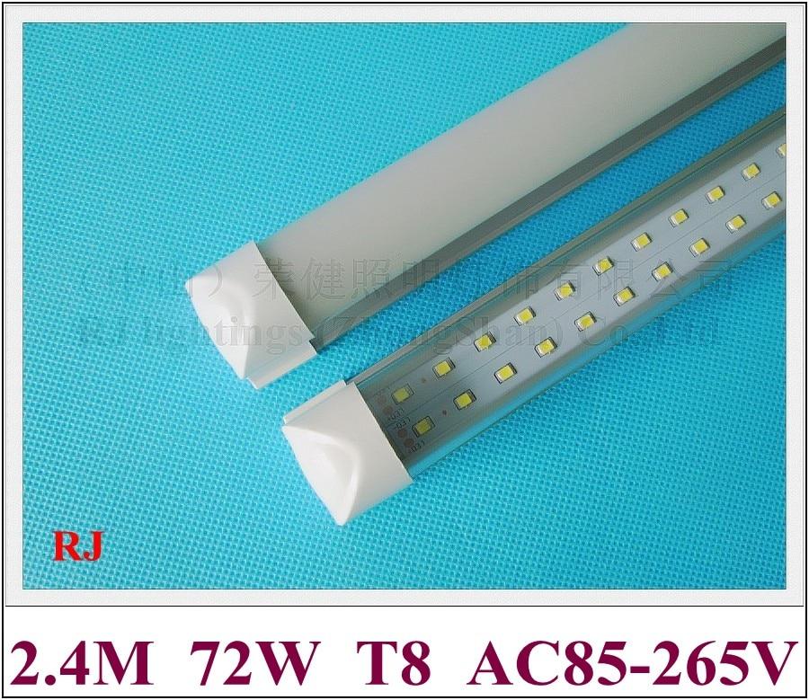 Compacto integrado (todo en uno) tubos de luz LED doble fila T8 2400mm 2,4 M 8 pies SMD 2835 384led (4 * 96led) 72W súper brillante CE