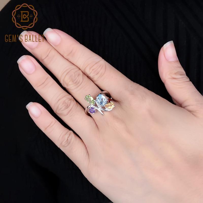Gems Ballet Flower Multicolor amatista Natural granate peridoto citrino Topacio cóctel anillo de plata 925 joyería anillo para las mujeres