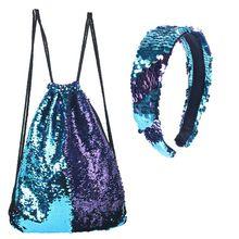 Bolso Reversible de lentejuelas con cordón, saco con cincha, mochila, monederos, mochila + juego de sombreros para niños y niñas