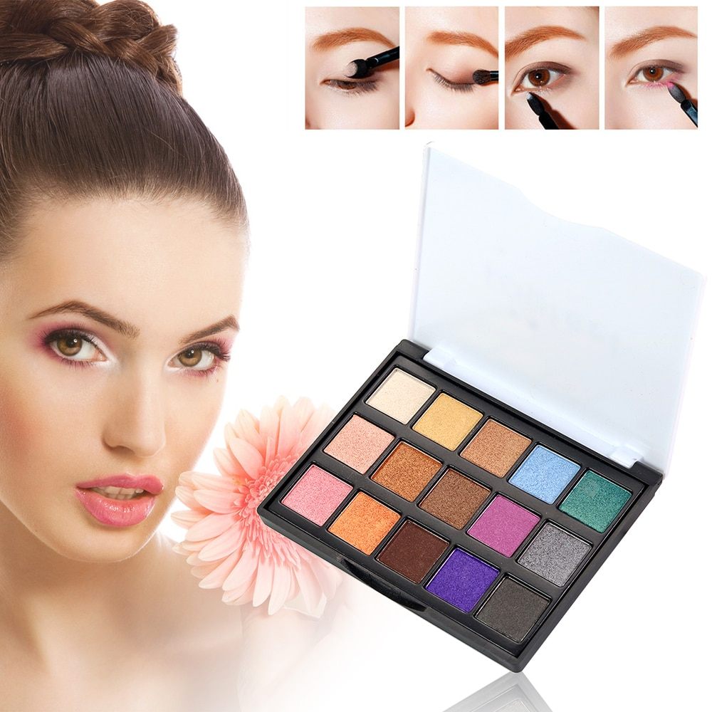 POPFEEL 15 Cores Glitter Shimmer Makeup Palette Moda Eye Contour Pigmento Paleta da sombra À Prova D Água Compõem Cosméticos TSLM2