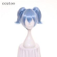 Perruque de Cosplay Shiota Nagisa synthétique-ccutoo   Perruque de 12 pouces en bleu avec queue de cheval à double puce, extension capillaire courte