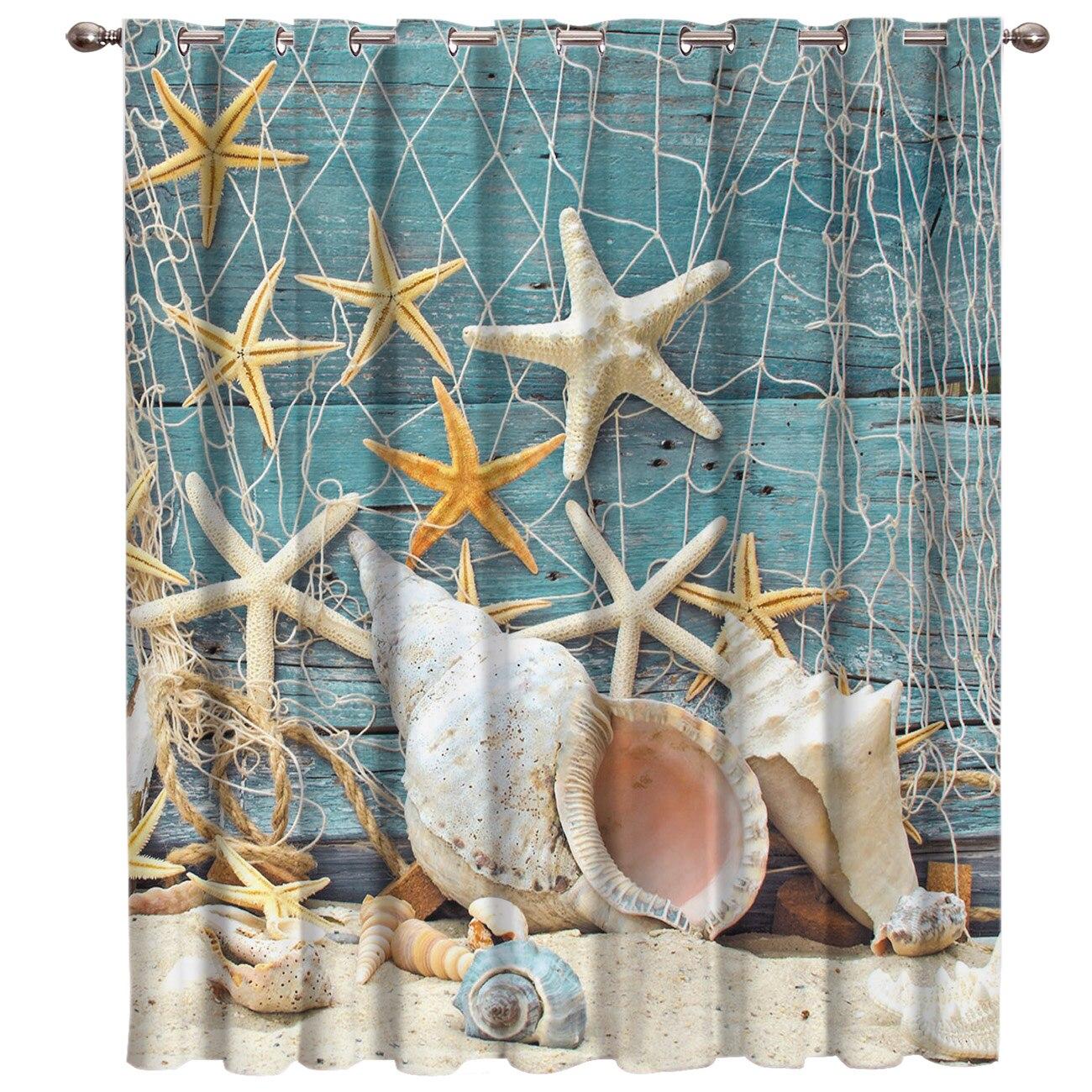 Mer étoile conque plage fenêtre traitements rideaux cantonnière salon cuisine chambre tissu intérieur décor enfants fenêtre