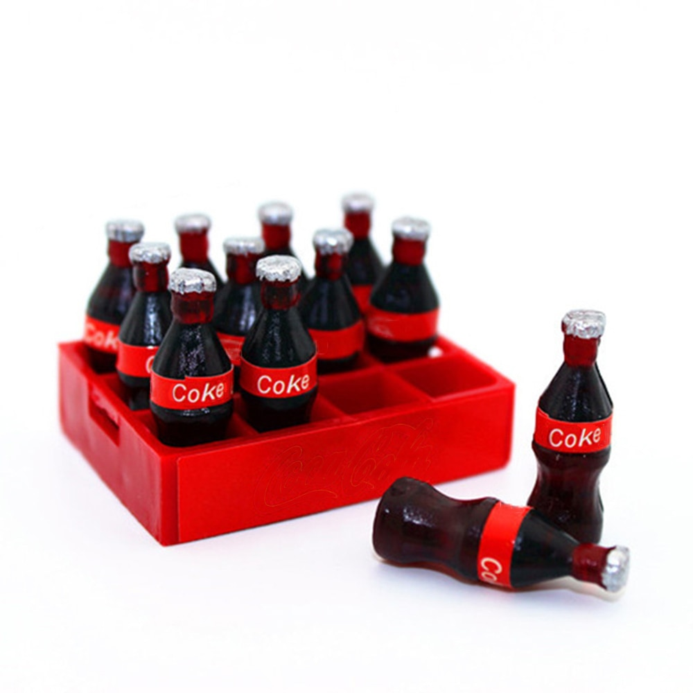 ¡Novedad de 1/12! Accesorios en miniatura para casa de muñecas, Mini botella de Coca Cola con bandeja, modelo de bebidas de simulación, juguete para decoración de casa de muñecas