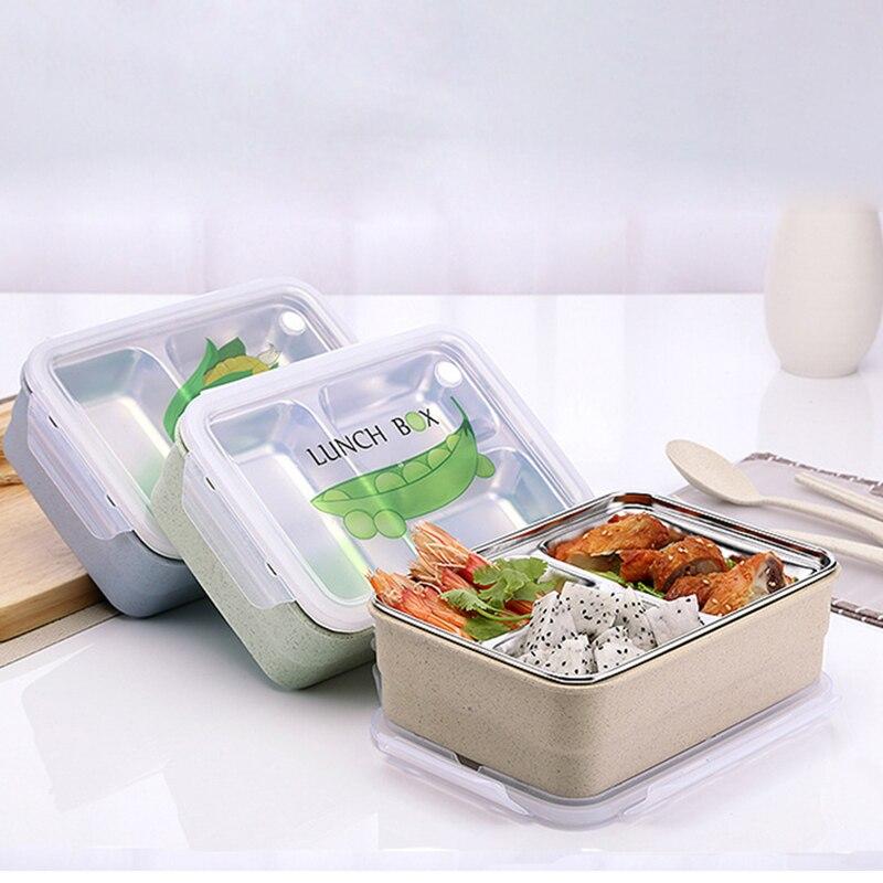 صندوق غداء بينتو ياباني محمول من 3 شبكات ، مجموعة ملاعق صغيرة ، شوك طعام حراري فولاذي ، حاوية نزهة للأطفال