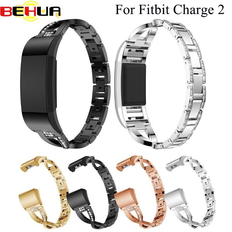 Correa de reloj para Fitbit Charge 2 correas de repuesto de pulsera de Metal correas ajustables para Fitbit charge2 correas de reloj con diamantes de imitación