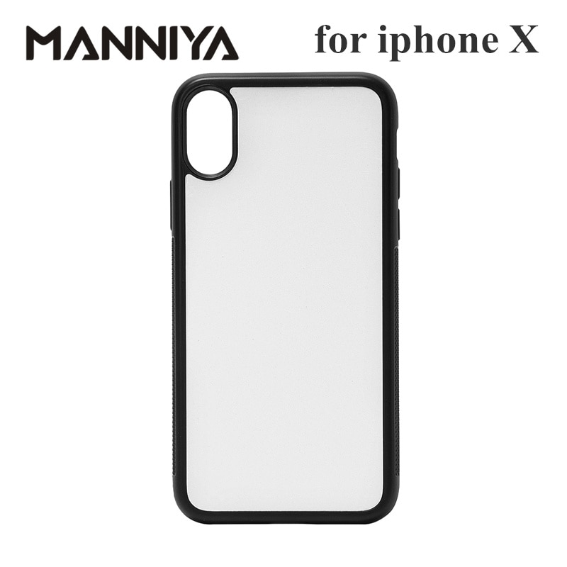 MANNIYA 2D Sublimation Blank rubber phone Case for iphone X XS with Aluminum Inserts and glue Free Shipping! 100pcs/lot