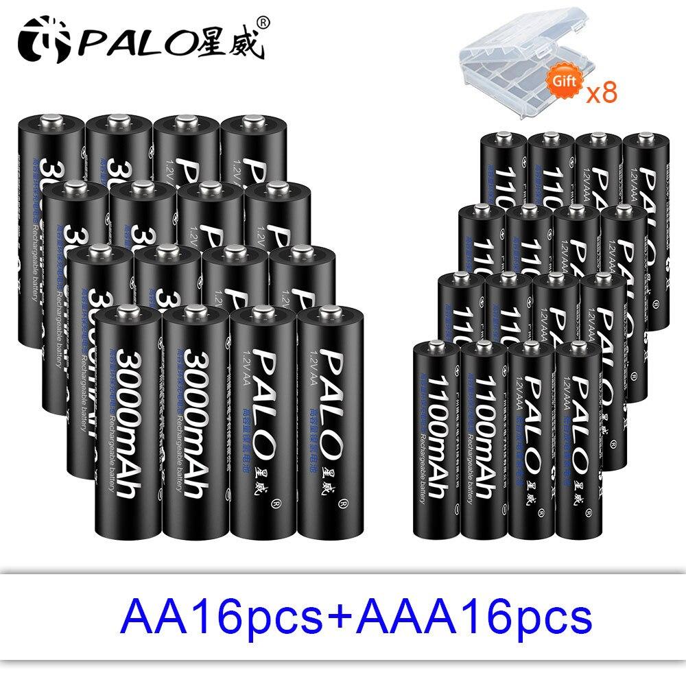 PALO 16 stücke 1,2 V 3000mAh Hohe kapazität AA batterie + 16 stücke 1100mah Batterien AAA 3A Wiederaufladbare batterie Mit Batterie lagerung box