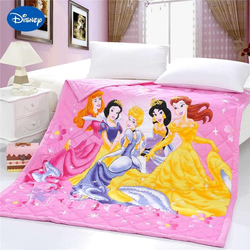 Brilhante princesa colchas cama gêmeo única rainha consoladores tecido de algodão disney personagem imprime meninas verão cor rosa
