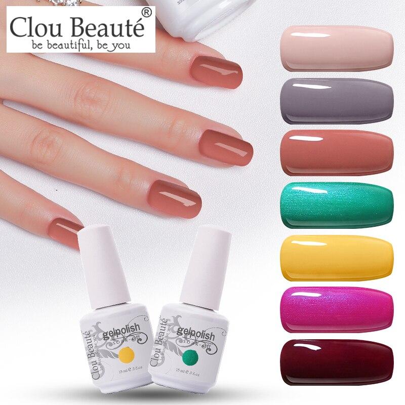 Clou Beaute 15ml esmalte de uñas en Gel con purpurina LED UV laca de Gel para uñas Gel empapado lak de esmalte de oro de Gel rosado UV barniz