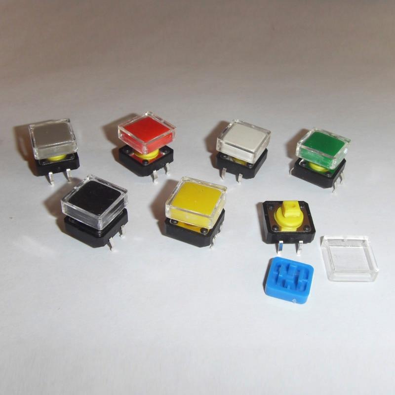 Тактильная Кнопка DIP, 140 шт./лот, 12*12*7,3 мм, с цветной крышкой и прозрачной крышкой, Tact, 12x12 мм, цветная