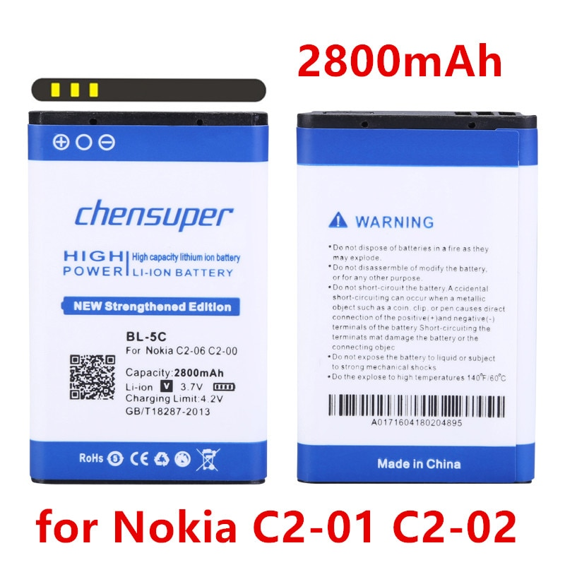 Chensuper2800mAh BL-5C batería para Nokia C2-01 C2-02 C2-03 C2-06 X2-01 5130 XpressMusic 6230i 1108, 1110, 1112, 1116, 1200, 1208, 1209