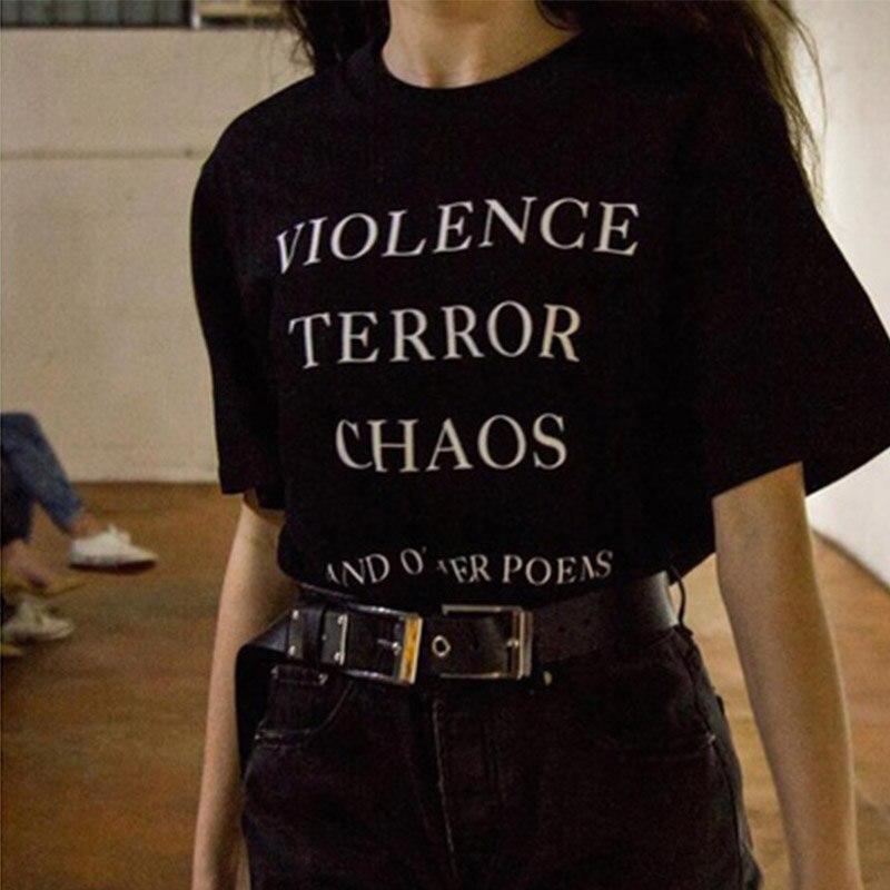 Sugarbaby violencia Terror caos y otros poemas camiseta con impresión de citas Unisex moda Tumblr Grunge gráfico Tee Street Style trajes