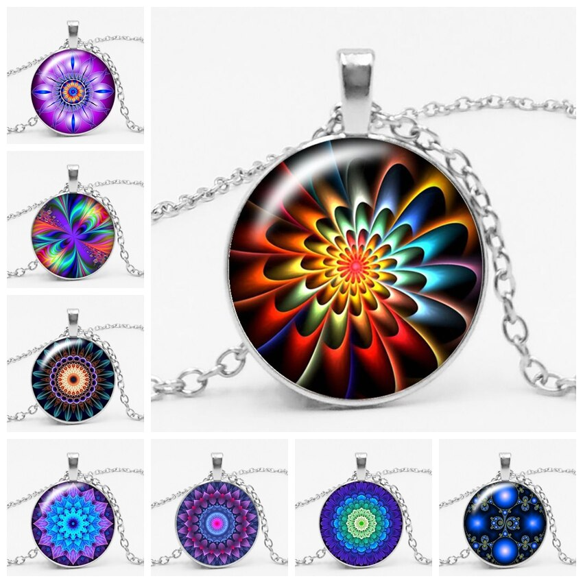 3-color moda charme caleidoscópio mandala yoga budista tempo gema de vidro colar de cristal redondo pingente de jóias