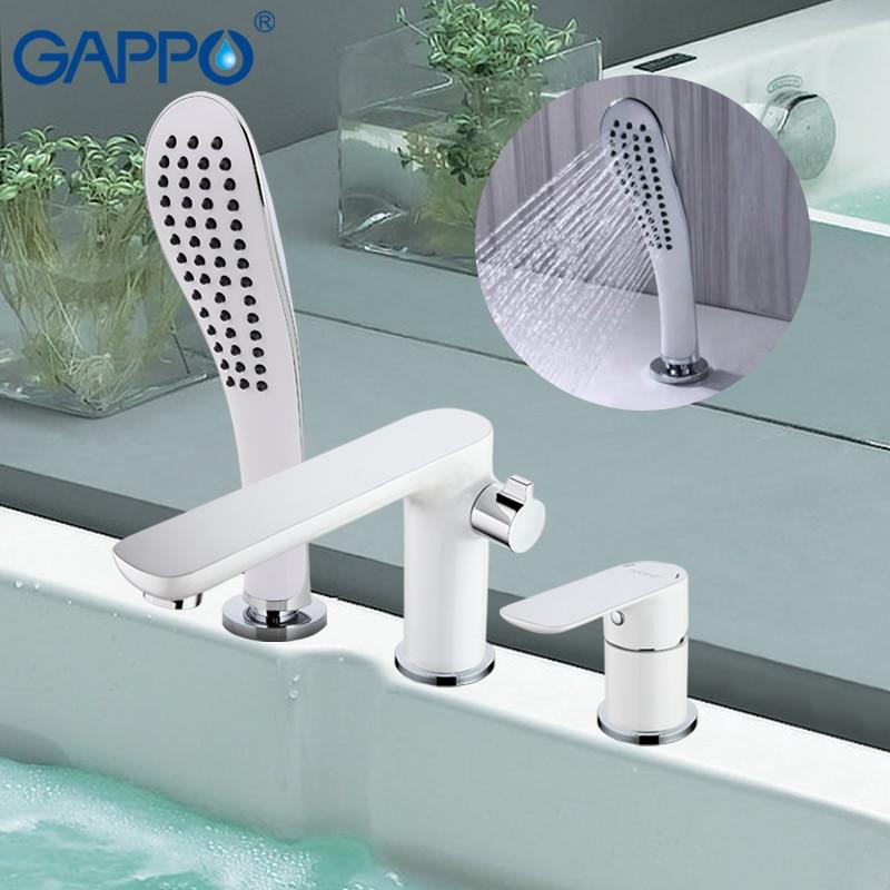 GAPPO حمام صنبور حوض خلاط حوض الاستحمام الأبيض شلال حمام الحنفيات النحاس حمام صنبور حوض الحائط روبينيت baignoire