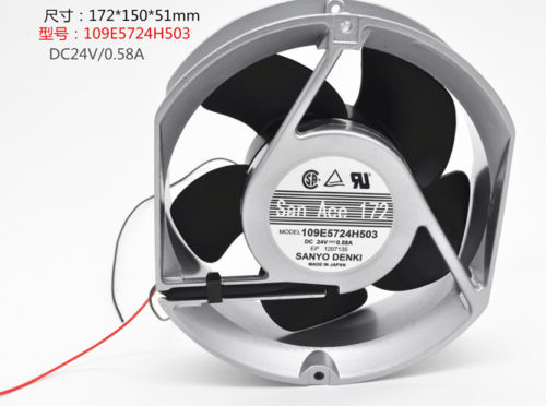 Caja de la computadora de ventilador de refrigeración de PC para SANYO 109E5724H503 marco doble aluminio bola fan DC24V 0.58A 172*150*51MM 2pin