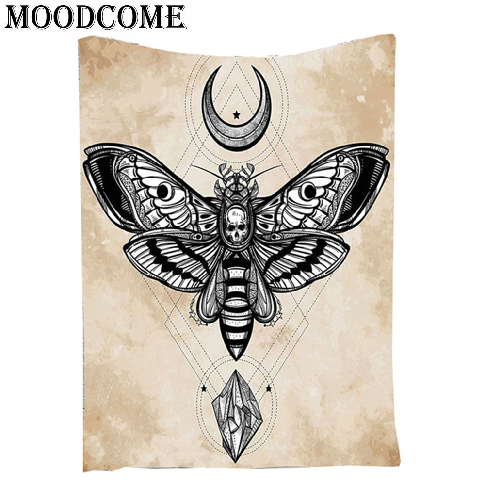 Skull Butterfly Mandala Tapestry Moon Star Tapestry Wall Hanging Diamond Shining Indian Tapestry Mandala Blanket Fly Animal
