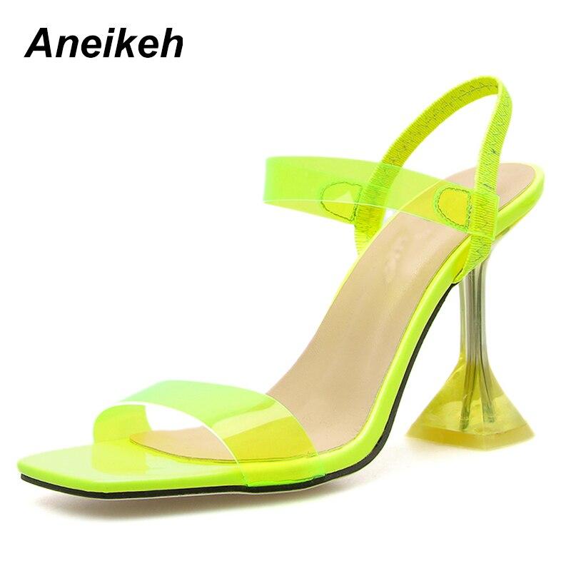 Aneikeh nuevas sandalias de moda de verano de PVC Cabeza Cuadrada zapatos de tacón alto sandalias gladiador vestido de fiesta de boda talla 9