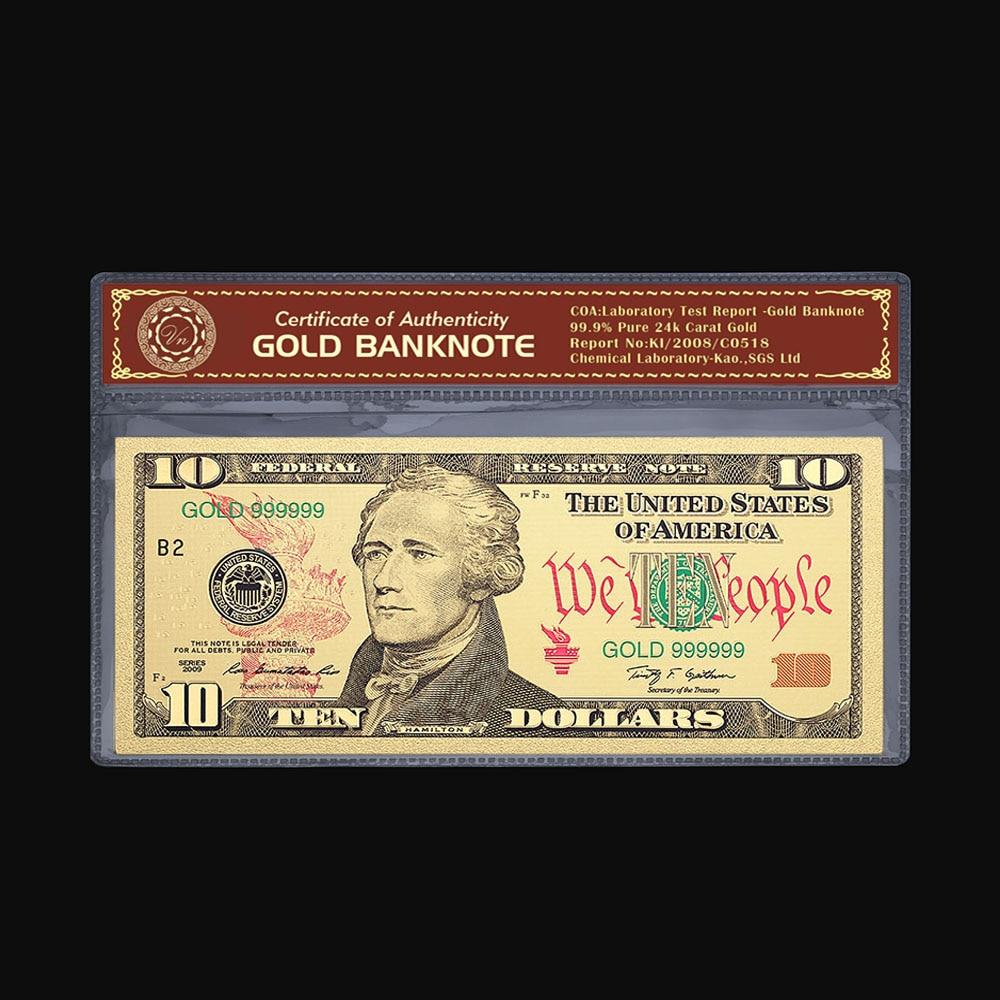 Venda quente lembrança de negócios aniversário notas de ouro eua dinheiro personalizado moeda de ouro usd 10 dólares com colorido mais novo notas