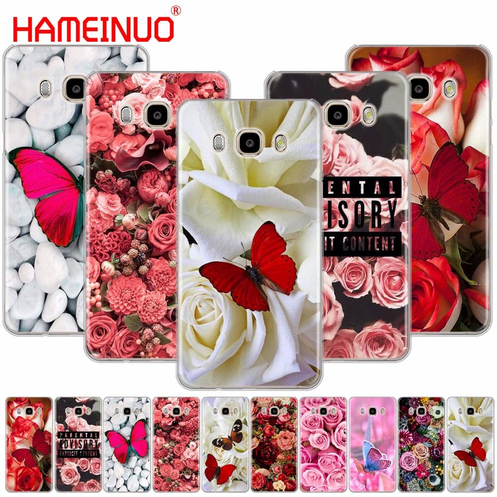 HAMEINUO rojo mariposa en rosas blancas cubierta de la flor del teléfono funda para Samsung Galaxy J1 J2 J3 J5 J7 MINI ACE 2016 2015 prime