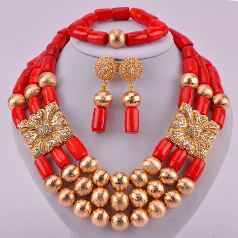 Joyería de lujo de traje de boda nigeriana cuentas africanas rojo Coral conjunto de joyería para mujer CJS13