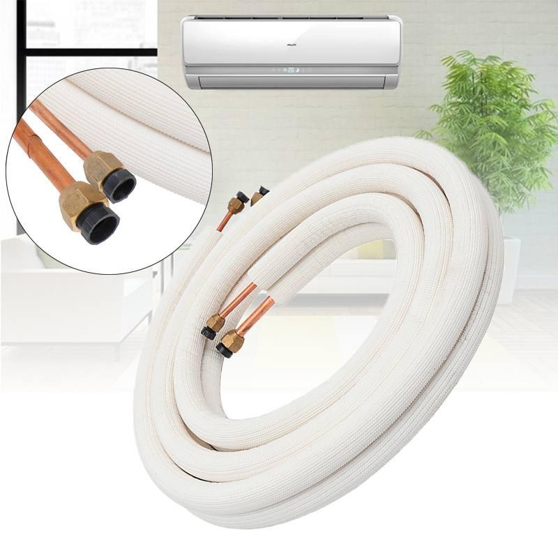 1/2/4/7/15 m tubo de cobre aislado 1/4 3/8 tubos de aire acondicionado accesorios par bobina tubo línea dividida cable conjunto aire acondicionado