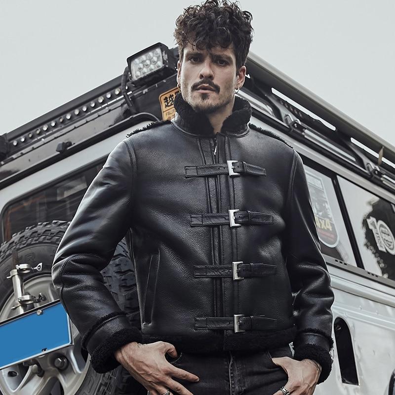 B3 крутая черная кожаная мужская куртка из овчины в байкерском стиле