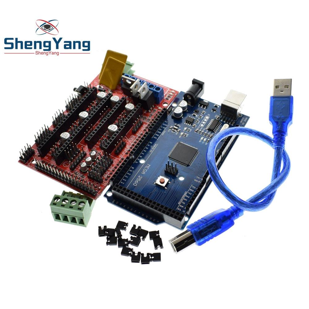 Shengyang mega 2560 r3 mega2560 rev3 + 1 pçs rampas 1.4 controlador para impressora 3d arduino kit reprap mendelprusa