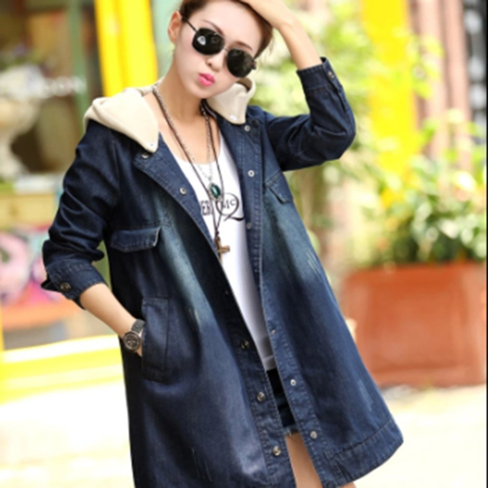 ¡Novedad de 2020! abrigo de vaquero para Mujer, azul oscuro, suelto, con capucha, de manga larga, de algodón, chaqueta vaquera gruesa de terciopelo para Mujer
