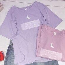 Японская футболка с Луной 2018, женская футболка с надписью «Best Friends», розовый, фиолетовый, милый топ для подростков, студенческий стиль для де...