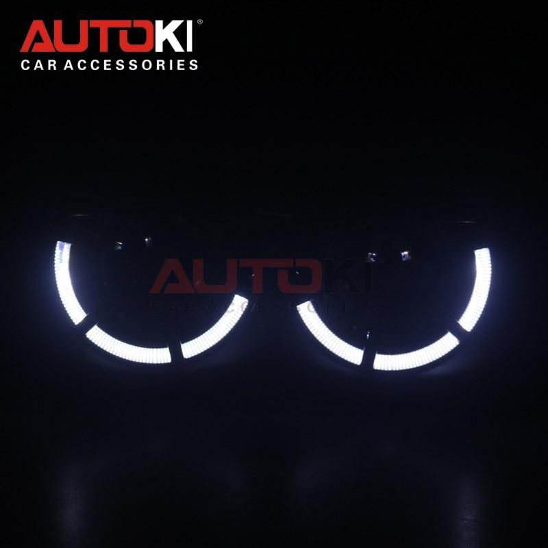 AUTOKI 2018 nuevo LED angel eyes Polo Sport + metal Super H1 3,0 pulgadas bi-xenon proyectores lente de faro para H4 H7 9005 9006