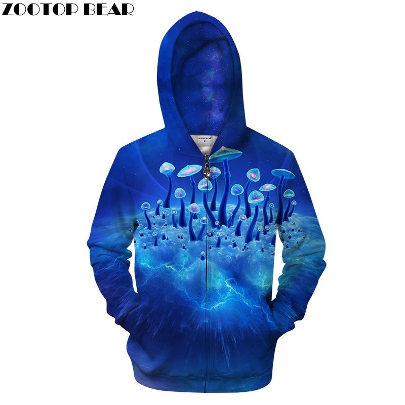 Cogumelo 3D Zip Moletom Com Capuz Homens Casaco Com Capuz Zipper Treino Casual Streatwear Groot Azul Camisola Casaco Pullover Masculino DropShip ZOOTOPBEAR