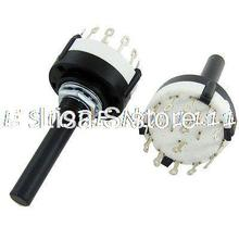 2 Pcs 6 millimetri Rotonda Albero 2 Pole 6 Posizioni Rotary Switch 350mA 125V AC Ehyzu