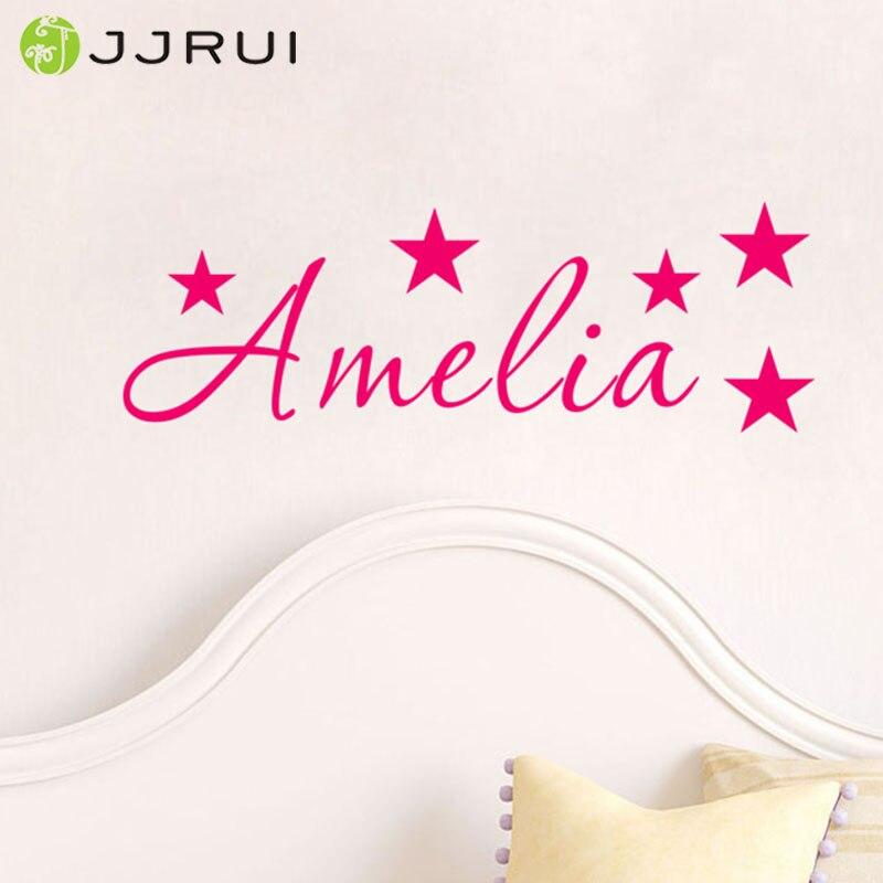 JJRUI-autocollant Mural personnalisé étoiles   Étiquette avec nom, décoration murale pour la maison des garçons et filles, Stickers muraux pour chambre denfants