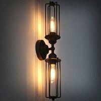 בציר לופט צינור כפול קיר מקורה מנורת חדר שינה מטבח אור Applique עיצוב הבית מסעדה ברזל כלוב רטרו פמוט אור
