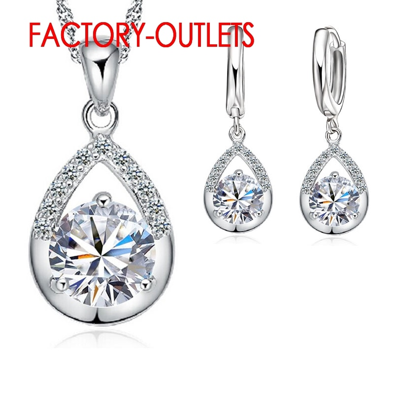 sa silverage 925 sterling silver vintage pendant chain necklaces water drop drop earrings jewelry sets for woman long earrings Hot Sale 925 Sterling Silver Bridal Jewelry Sets Romantic Crystal Water Drop Necklaces Hoop Earrings Women Party Engagement