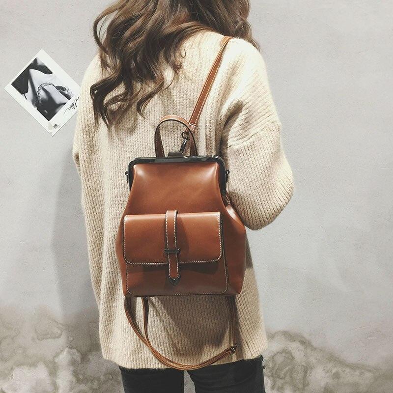College Wind Retro Women Backpacks 2020 Fashion New High-quality PU Leather Women Shoulder Bags School bag Travel Books Rucksack