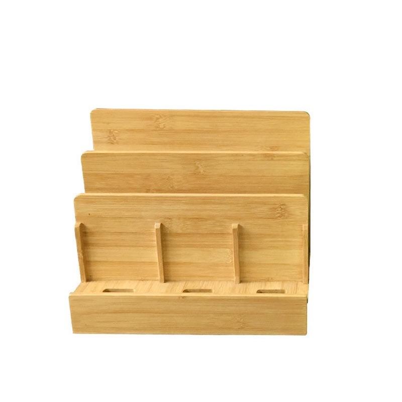 Recém multi-dispositivo de bambu estação de carregamento dock & organizador caixa de armazenamento para ipad ar 2 iphone 7 plus macbook va88