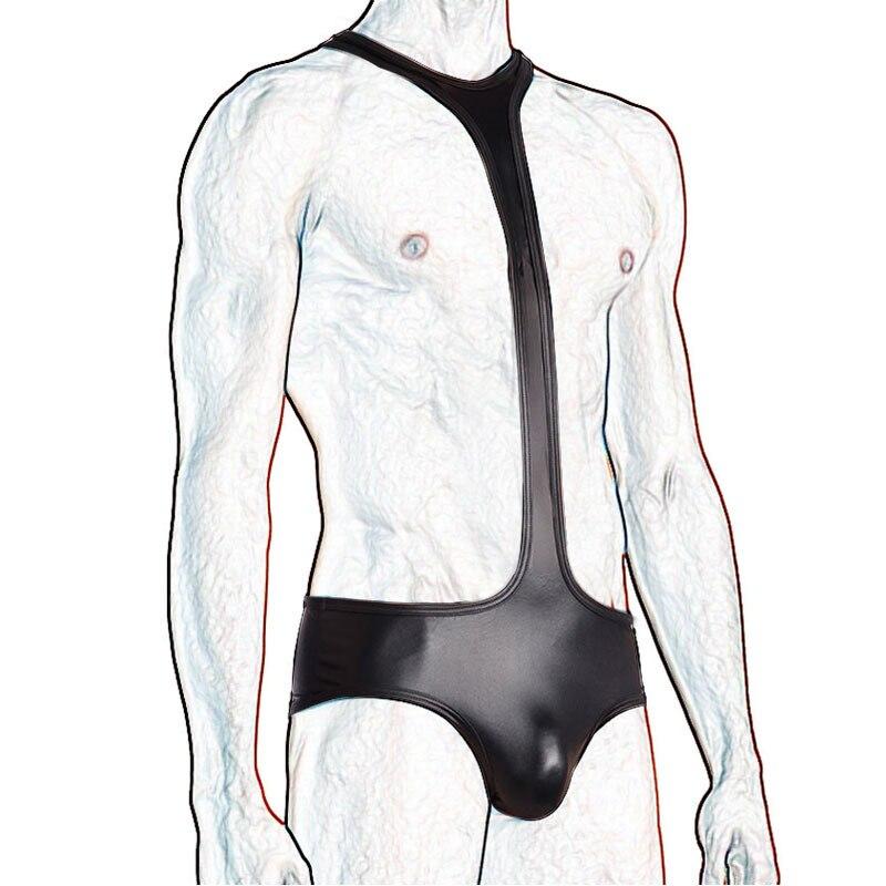 Mono de una pieza para hombre, con aspecto mojado, de piel sintética, sexi camiseta de lucha libre, suspensorio erótico, Mankini, ropa interior, mono, lencería