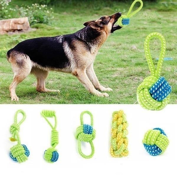 Divertido juguete masticable para mascotas, Juguete para perro masticable, perro masticable, nudo de soga de algodón, bola para rechinar los dientes, odontoprisis, juguetes para mascotas, regalo interactivo para mascotas Lar #92370