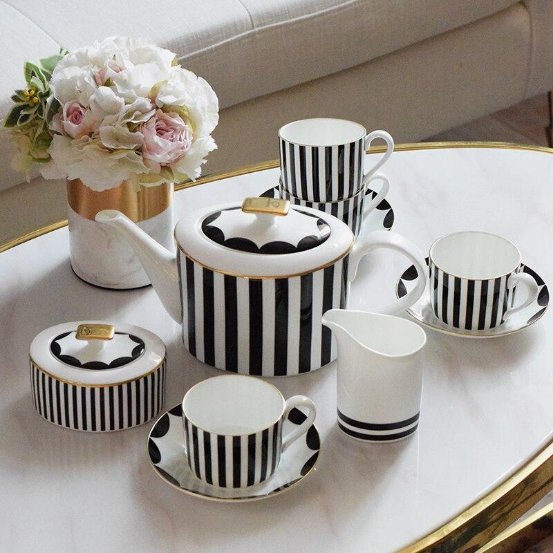 Kaffeetasse-sets bone china teetasse trinkbehälter bonbonglas teekanne sätze klassische schwarz weiß farben