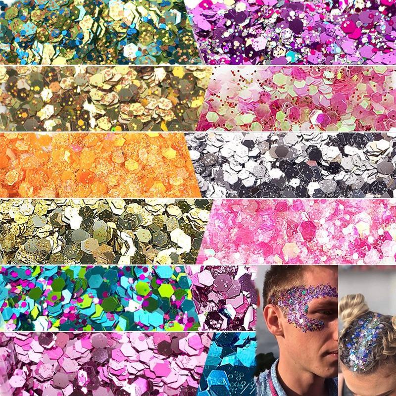 10g/Bag Festival Glitter Mixed Eyeshadow Make Up Glitter Mermaid Christmas Halloween Beauty Face/Bod