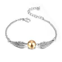 Hp moda Harry Golden Deathly reliquias Snitch harri pulsera para mujeres y hombres lindas alas de bola cadena pulseras chicas fans regalos