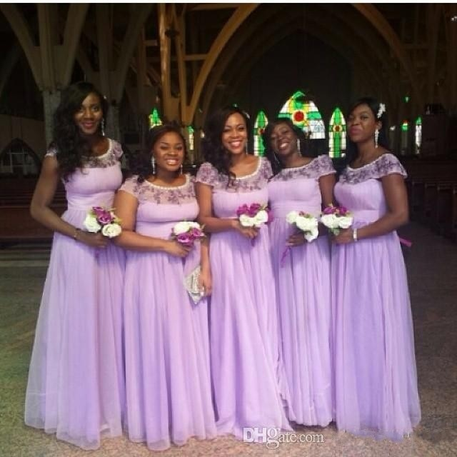 Cap short Sleeve Bridesmaid dresses 2017 scoop neckline beading floor length long Maid of Honor Dress prom dresses WL34