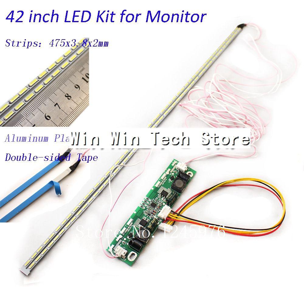 Kit de actualización de lámparas de luz de fondo de tira de placa de aluminio LED de 42 pulgadas para pantalla LCD, Panel de TV, 2 tiras LED de 475mm, Envío Gratis