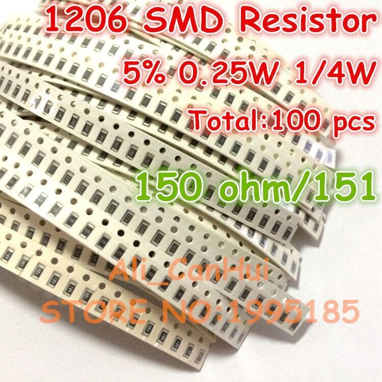 100 unids/lote 1206, 5%, 150 ohm 150R 151 1/4W 0,25 W SMD resistencia de 3,2*1,6mm