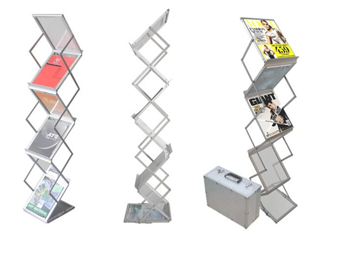 Aluminum Alloy Folding Brochures Pamphlets Books Literatures A4 Display Holders Rack Stand By 6 Faces To Show 10pcs