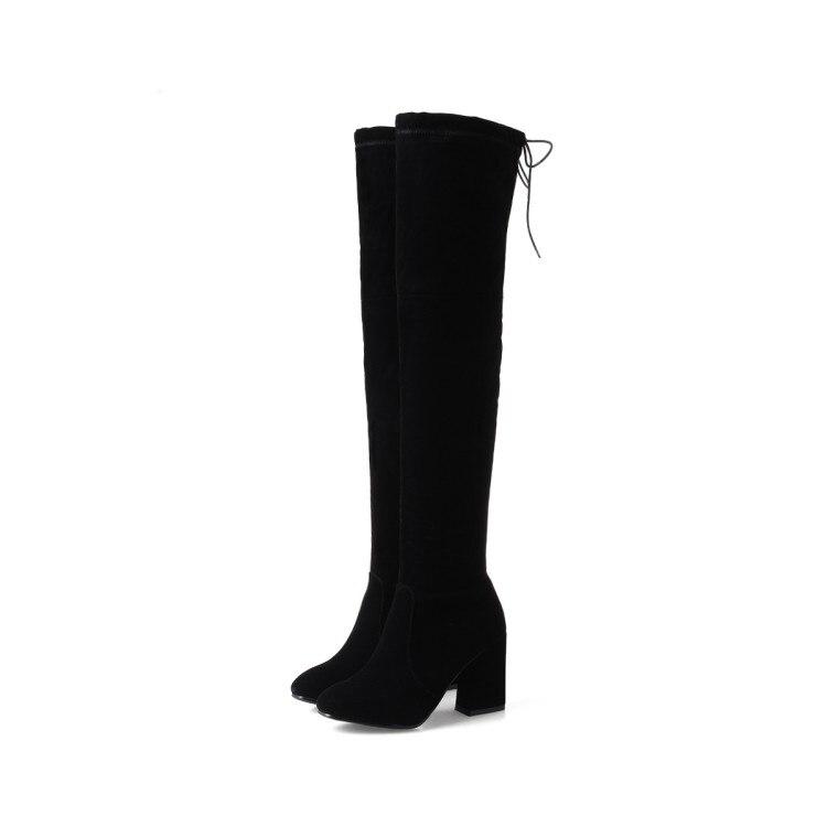 Botas femininas de couro macio botas de salto alto sapatos de moda popular sapatos de salto alto grosso plataforma de dedo do pé redondo