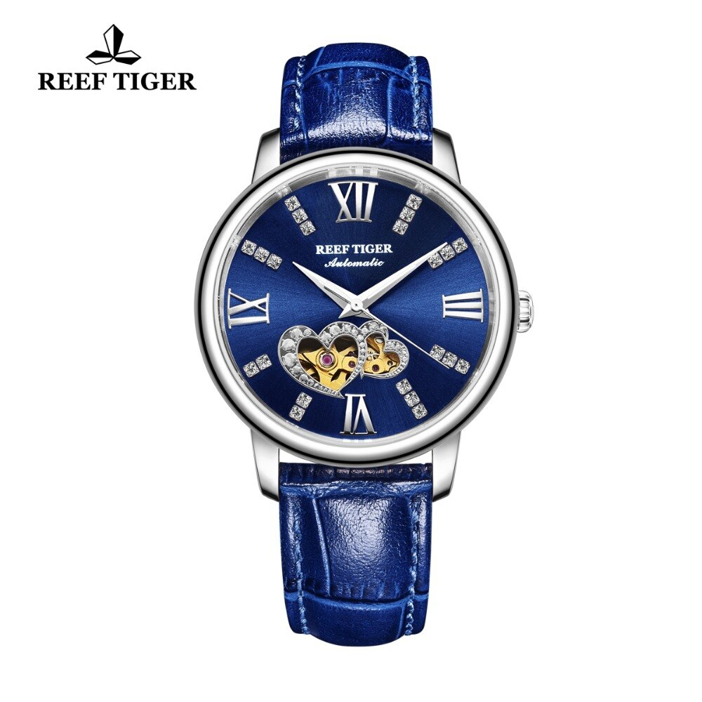 Reef Tiger/RT Luxury Brand Women Watches Steel All Blue Watches Leather Strap Diamond Watches Reloj Mujer RGA1580 enlarge