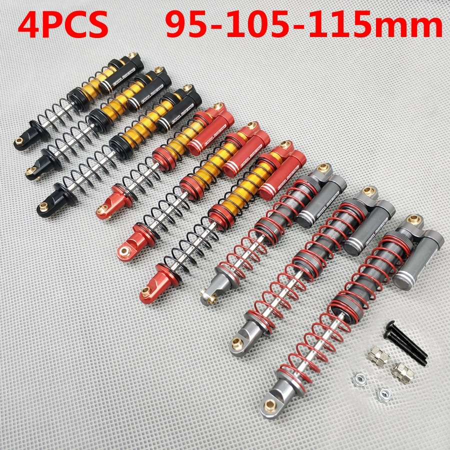 4 Uds 1/10 RC Rock Crawler METAL aceite de suspensión amortiguadores amortiguador 95MM 105MM 115MM Piggyback Doble amortiguador de muelles para SCX10 TRX4 D90