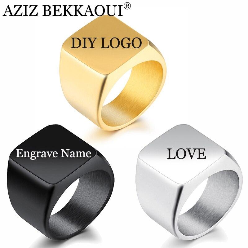 AZIZ BEKKAOUI logo de moda los hombres negro anillo 19mm de ancho cuadrado anillo Punk DIY Logotipo de acero de titanio individualidad anillo joyería